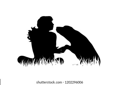 Vector silhouette of girl with dog in the grass on white background.