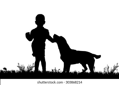 Vector silhouette of a girl with a dog on a white background.