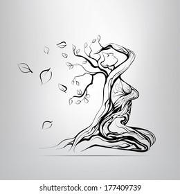 Vector silhouette of the girl in the form of a tree
