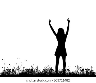 Vector, silhouette of a girl, happy