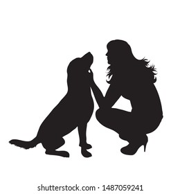 Vector silhouette of girl with her dog on white background. Symbol of friends, care, animal, woman, female.