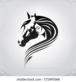Vector silhouette of girl and horse