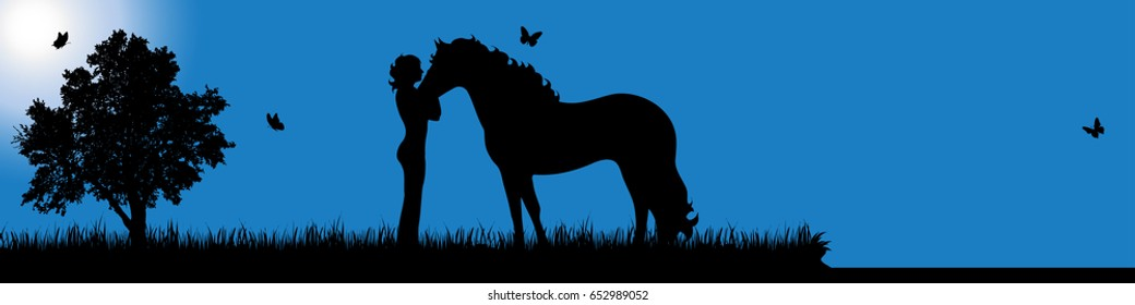 Vector silhouette of girl with horse in nature at sunny day.