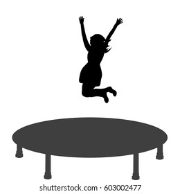 Vector silhouette of a girl jumping on a trampoline