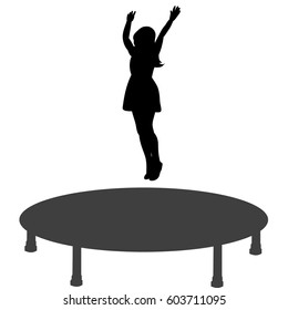 Vector, silhouette of a girl jumping on a trampoline, having fun