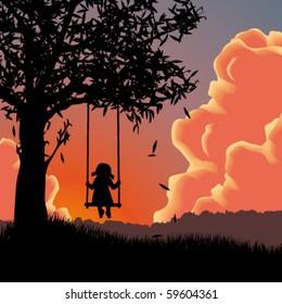 Vector silhouette of girl on swing. Sunset