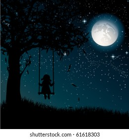Vector silhouette of girl on swing. Night