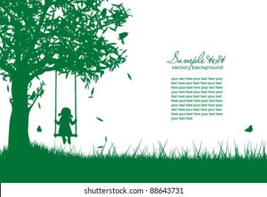 Vector silhouette of girl on swing