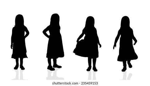 Vector silhouette of a girl on a white background.