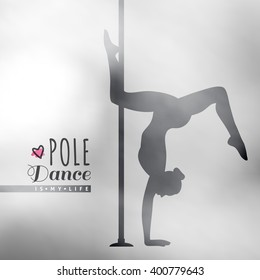 vector silhouette of girl and pole on blur background, pole dance illustration