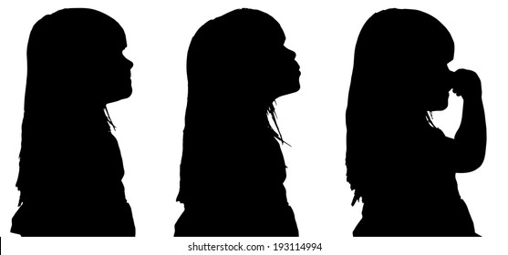 Vector silhouette of the girl in profile on a white background.