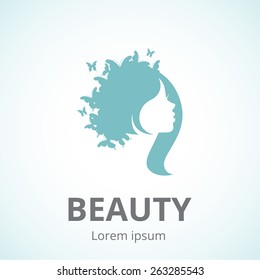Vector silhouette of a girl in profile template logo or an abstract concept for beauty salons, spa, cosmetics, fashion and beauty industry/Abstract logo woman's face in profile/Vector abstract logo