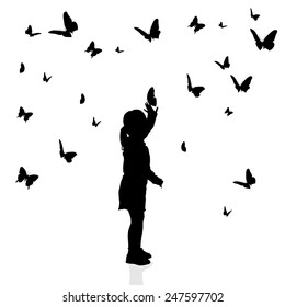 Vector silhouette of a girl surrounded by butterflies on a white background.