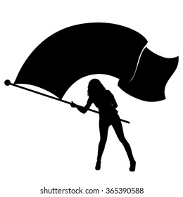 Vector silhouette of a girl waving a large flag.
