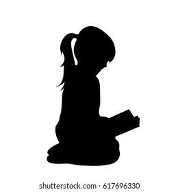 Vector silhouette of girl who read book.