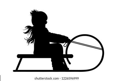 Vector silhouette of girl who sledding on snow toboggan.