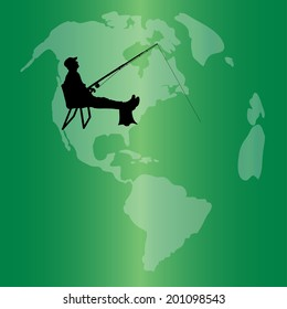 Vector silhouette of the globe on a green background.