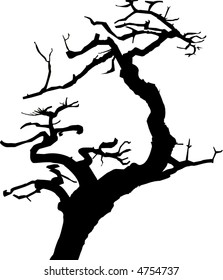 Vector silhouette of gnarled old tree