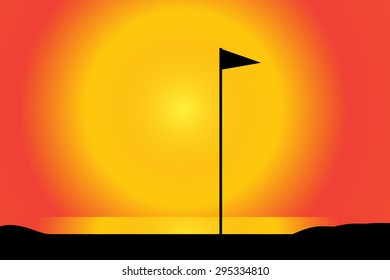 Vector silhouette of a golf course at sunset.