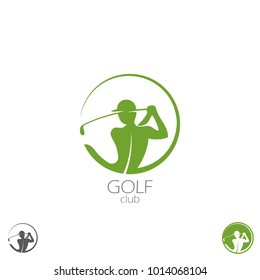 Vector silhouette of the golf player.  Logo template golfer. Round icon.