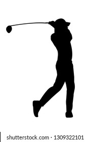 Vector of silhouette golf player swing the golf club for t-off
