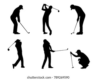 vector of silhouette golfer in action