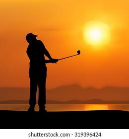 Vector of Silhouette golfer against sunset