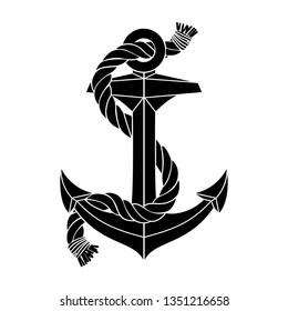 vector silhouette graphic black sea anchor shape