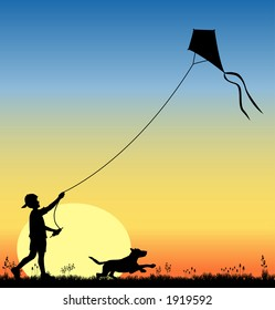 vector silhouette graphic depicting a boy flying a kite (concept: play or carefree)
