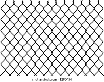 vector silhouette graphic depicting a chain link fence