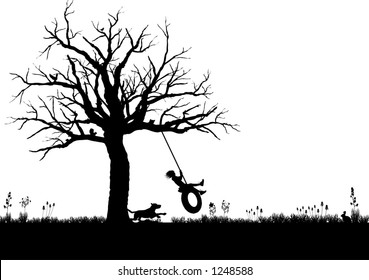 vector silhouette graphic depicting a child playing on a tire swing