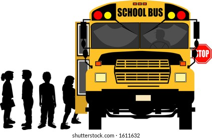 vector silhouette graphic depicting children boarding a school bus (concept: school days)
