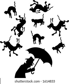 "vector silhouette graphic depicting a concept: ""raining cats and dogs"""