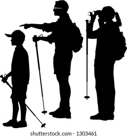 vector silhouette graphic depicting a family of hikers (B&W)