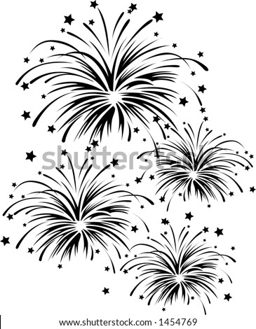 Vector Silhouette Graphic Depicting Fireworks Display Stock Vector