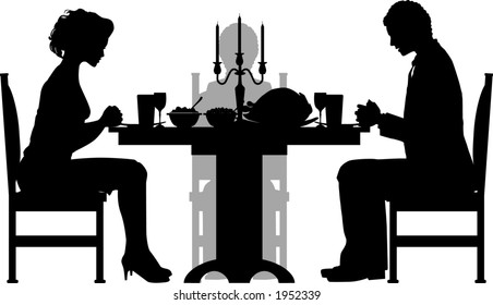 vector silhouette graphic depicting a group of people having a (Thanksgiving) dinner
