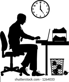 Vector silhouette graphic depicting a male office worker, typing