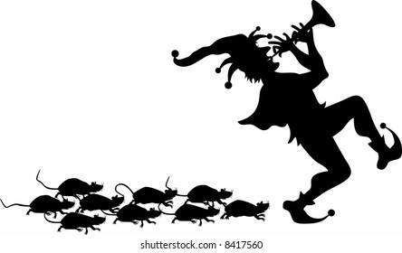 vector silhouette graphic depicting the pied piper leading a pack of rats