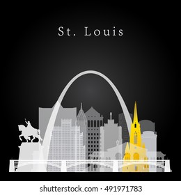 Vector silhouette graphic depicting the St. Louis white and yellow skyline on black background.