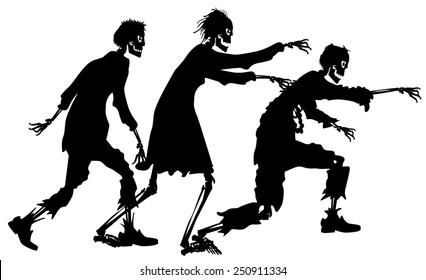 vector silhouette graphic depicting a three zombies
