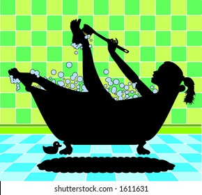 vector silhouette graphic depicting a woman taking a bubble bath