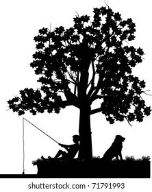 vector silhouette graphic illustration depicting a boy fishing from under a tree with his dog