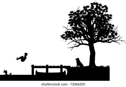 vector silhouette graphic illustration depicting children at summertime play in the water