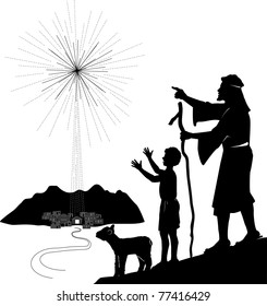 Vector silhouette graphic illustration depicting a shepherd and boy looking at the shining star over Bethlehem