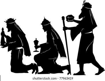 Vector silhouette graphic illustration depicting the three wise men offering gifts