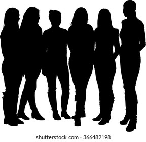 Vector silhouette of a group of adult people (girls or women)