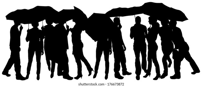 Vector silhouette of group of people with umbrellas.