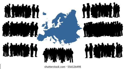 Vector silhouette of a group of refugees, migration crisis in Europe. War migration waves going through Schengen Area. European, Europe union vector map background.