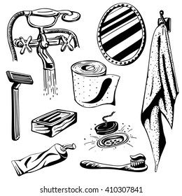 Vector silhouette hand drawn illustration of various bathroom and toilet items