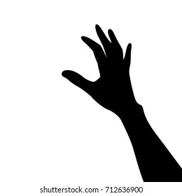 Vector silhouette of a hand. Isolated vector on white background.